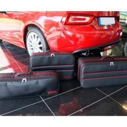 Set of luggages, taylor-made suitcases with red stitching for Fiat 124 Spider convertible