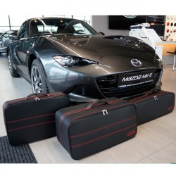 Set of luggages, taylor-made suitcases with red stitching for Mazda MX5 ND convertible